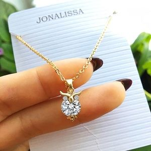 Owl Crystal Rhinestone Gold Pendant Necklace